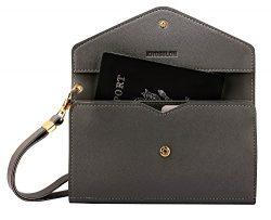 Krosslon Rfid Travel Passport Wallet Holder Tri-fold Document Wristlet Organiser Bag (7# Dark Grey)