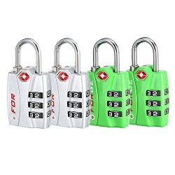 Forge TSA Locks 4 Pack Silver and Green – Open Alert Indicator, Easy Read Dials, Alloy Body