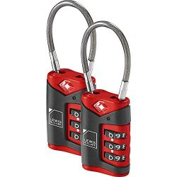 Lewis N. Clark TSA-Approved Combination Luggage Lock With Steel Cable (2-Pack), Red, One Size
