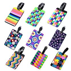 Colorful PVC Tetris Pattern Rubber ID Tags Business Card Holder for Luggage Baggage Travel Ident ...