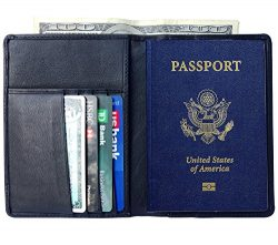 AurDo RFID Blocking Real Leather Passport Holder Cover Case & Travel Wallet for Men & Wo ...