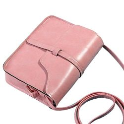 GBSELL Women Vintage Leather Purse Cross Body Shoulder Messenger Bag (Pink)