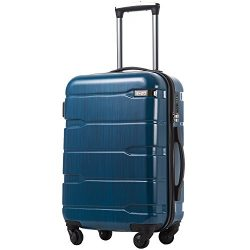 Coolife Luggage Expandable Suitcase PC+ABS Spinner 20in 24in 28in Carry on (Caribbean Blue., S(2 ...