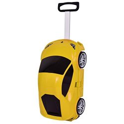Goplus Kids Luggage Rolling Car Design Travel Suitcase for Toddler (Yellow)