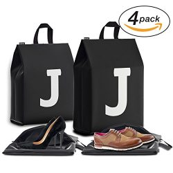 Personalized Initial Travel Shoe Bag (4 Pack) for Men, Women and Kids – (Letter J)
