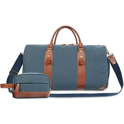 Oflamn Large Duffle Bag Canvas Leather Weekender Overnight Travel Carry On Bag (Blue, X-Large)