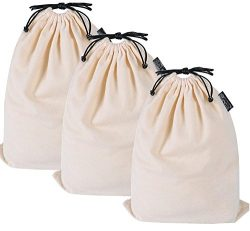 Misslo Cotton Breathable Dust-proof Drawstring Storage Pouch Bag (Pack 3 M)