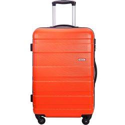 Merax MT Imagine Luggage Set 3 Piece Spinner Suitcase 20 24 28inch (Orange-24inch)