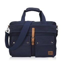 Veegul 17 inch Multifunction Canvas Laptop Messenger Bag Carry on Computer Travel Bag Navy Blue VG