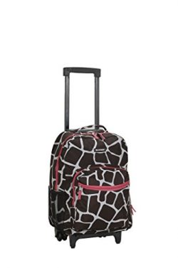 Rockland Luggage 17 Inch Rolling Backpack, Pink Giraffe, One Size