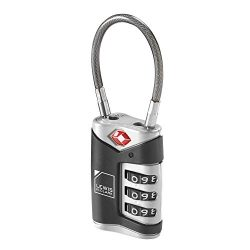 Lewis N. Clark TSA-Approved Easy-to-Set Combination Luggage Lock With Steel Cable, Black