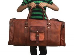 Leather Saddler 28″ Inch Real Goat Vintage Leather Large Handmade Travel Luggage Bags in S ...