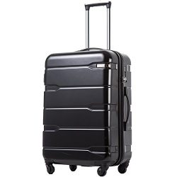 Coolife Luggage Expandable Suitcase PC+ABS Spinner 20in 24in 28in Carry on (black., M(24in).)