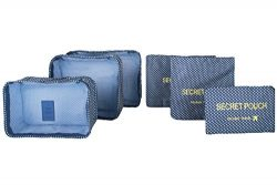 6 sets travel Organizers Packing Cubes Luggage Organizers Compression Pouches (Navy Blue Plaid)