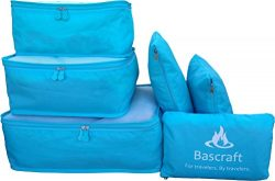 Packing Cubes Travel Organizers Set of 6 Square Cube & Laundry Bags Large & Lightweight  ...