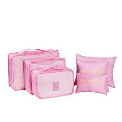 6Pcs Waterproof Travel Storage Bags Clothes Packing Cube Luggage Organizer Pouch (Pink)