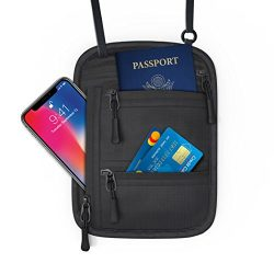 Miolle RFID Fitness Travel Neck Wallet Bag Passport Holder – Neck Bag Passport Wallet for  ...