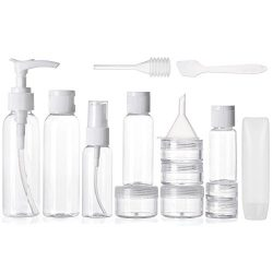Alink 16pcs Travel Size Toiletry Bottles Set, TSA Approved Clear Cosmetic Makeup Liquid Containe ...