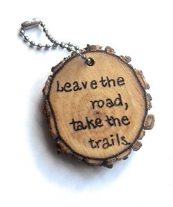 Take the Trails Luggage Tag Wood Keychain
