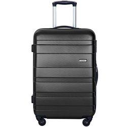 Merax MT Imagine Luggage Set 3 Piece Spinner Suitcase 20 24 28inch (Black-28inch)