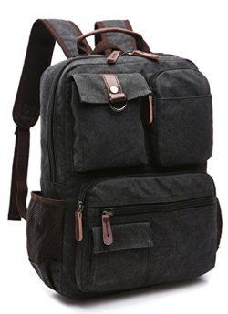 "Canvas Backpack, Aidonger Vintage Canvas School Backpack Hiking Travel Rucksack Fits 14"" L ..."