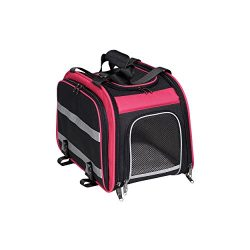 Nantucket Bicycle Basket Co. Expandable Rear Pet Carrier Basket, Pink/Black