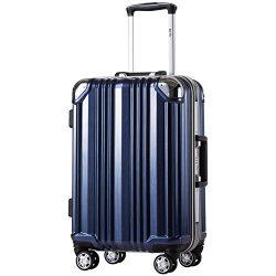 Coolife Luggage Aluminium Frame Suitcase 3 Piece Set with TSA Lock 100%PC (L(28in), Blue)