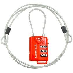 TSA Approved Cable Luggage Locks plus Bonus 4 Foot Steel Cable Lumintrail Combination Travel Sec ...