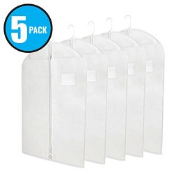 "Breathable 40"" White Garment Bags for Storage of Suits or Dresses with Zipper & Transparent  ..."