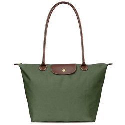 BEKILOLE Women's Stylish Waterproof Tote Bag Nylon Travel Shoulder Beach Bags-Army Green C ...