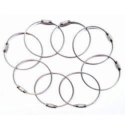 8pcs Stainless Steel Cable Key Ring Keychain with Screw Lock for Outdoor Sports (200mm, Silver)