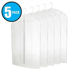 "Five Pack of PEVA 40"" Translucent Garment Bags with Zipper for Travel and Storage of Suits or Dr ..."