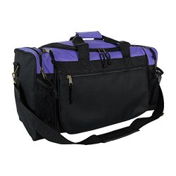 Dalix 20 Inch Sports Duffle Bag with Mesh and Valuables Pockets, Purple