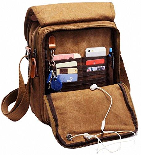 Kenox Durable Vintage Multifunction Canvas Shoulder Bag Business Messenger Bag Ipad Bag Tote Bag ...