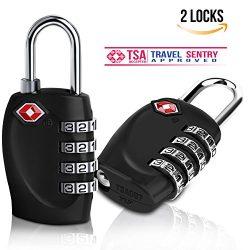 TSA Travel Luggage Locks – BELK Black Easy Rest 4-digit Combination Metal Alloy Padlock fo ...