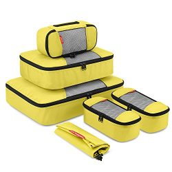 Travel Packing Cubes, Gonex Luggage Organizers L+M+3XS+Laundry Bag Yellow