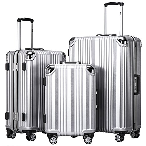 Coolife Luggage Aluminium Frame Suitcase 3 Piece Set With