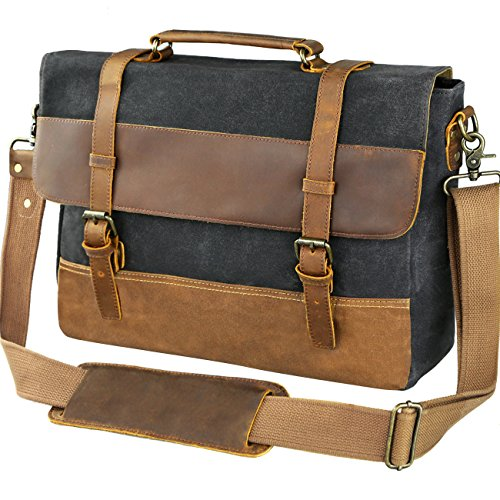 b5d977b6c01c WOWBOX 15.6 Inch Messenger Bag for Mens Waxed Waterproof Canvas Genuine  Leather Laptop Messenger .