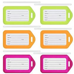 MIFFLIN Luggage Tags in Mixed Colors and Size Packs (6 Pack, Neon), Travel Bag ID Name Labels