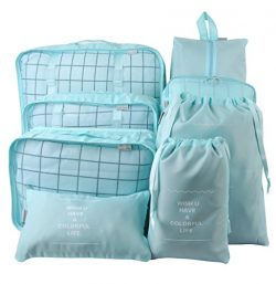 8 Set Packing Organizer,Waterproof Mesh Travel Luggage Packing Cubes with Laundry Bag Shoes Bag Blue