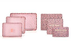 6 sets travel Organizers Packing Cubes Luggage Organizers Compression Pouches (Pink Leopard)