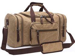 Canvas Duffel Bag, Aidonger Vintage Canvas Weekender Bag Travel Bag Sports Duffel with Shoulder  ...
