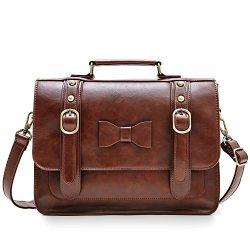 ECOSUSI Women Vintage Faux Leather Messenger Shoulder Satchel Weekender Fashion Bag, Dark Brown