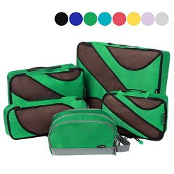 4 Set Packing Cubes,Travel Luggage Packing Organizers with Toiletry Bag Parakeet