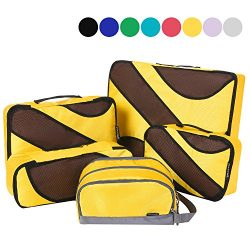 4 Set Packing Cubes,Travel Luggage Packing Organizers with Toiletry Bag Yellow