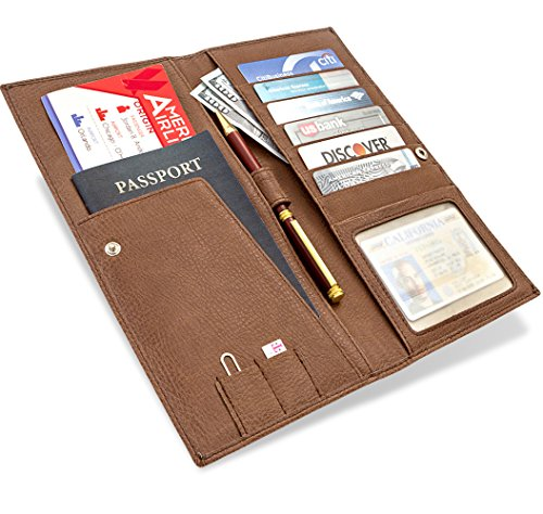 Travel Wallet Passport Holder Long Leather Wallet And Travel Document Organizer Wallet For