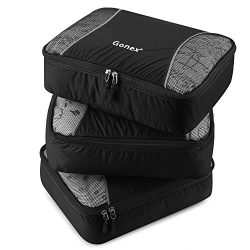 Gonex Packing Cubes 3 Set Travel Luggage Packing Organizers Pouches(Black)