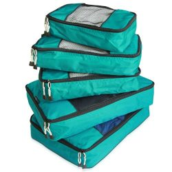 TravelWise Packing Cube System – Durable 5 Piece Weekender Plus Set [2014 Version] (Teal)