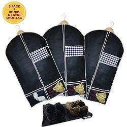 Garment Bag Set of 3 With X-Large Shoe Bag – Suit Travel Bag Folding Hanging Breathable Fa ...