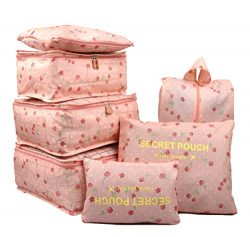 7 Set Travel Packing Organizer,Waterproof Mesh Durable Luggage Travel Cubes,1 Shoe Bag (Pink Cherry)